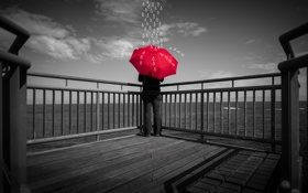 Обои sea, drops, pier, red umbrella