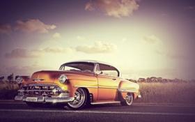 Картинка поле, небо, оранжевый, Chevrolet, шевроле, front, orange