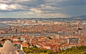 Картинка город, сверху, дома, фото, Франция, Marseille