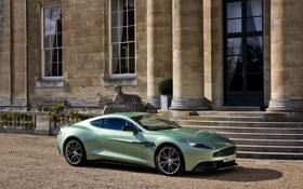 Картинка Aston Martin, Дом, Машина, День, Купэ, Vanquish, Вид сбоку