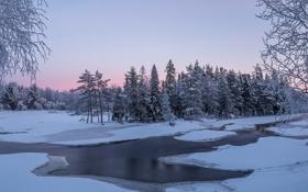 Картинка зима, река, закат