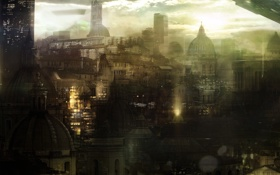 Обои concept art, город, купол, здания, Orthan, Distant Star