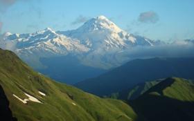 Обои Лед, Снег, Пик, Облака, Склон, Природа, Гора