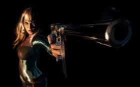 Обои взгляд, девушка, оружие, арт, блондинка, черный фон, Cobra