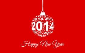 Обои красный, фон, Happy New Year, игрушка, 2014
