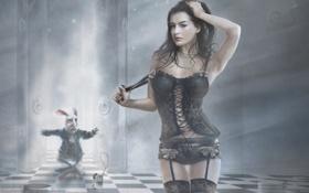 Картинка черный, белье, часы, кролик, пояс, кружева, королева