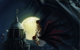 Картинка ночь, луна, кровь, крест, арт, церковь, храм