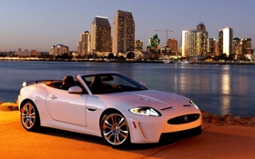 Обои Jaguar, Город, Машина, Белая, Свет, Ягуар, Car