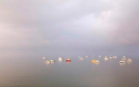 Обои море, небо, облака, лодка, бухта, яхта, штиль