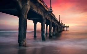 Картинка море, огни, рассвет, утро, фонари, пирс