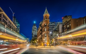 Картинка night, Ontario, Toronto, Gooderham Building