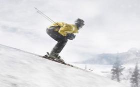 Обои спуск, снег, лыжи