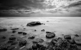 Картинка море, небо, пейзаж, природа, камни, фон, обои