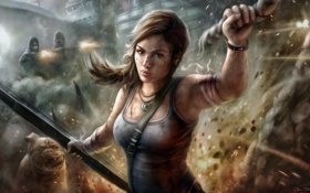 Обои девушка, погоня, искры, Tomb Raider, Lara Croft, раны