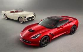 Обои белый, красный, Corvette, Chevrolet, Шевроле, передок, Stingray