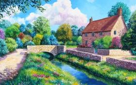 Картинка дорога, деревья, цветы, мост, дом, река, картина
