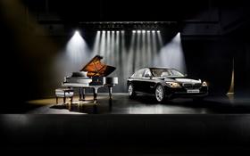 Картинка Авто, Черный, Музыка, BMW, Машина, 7 Series, Хром