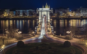 Обои цепной мост, Венгрия, ночь. огни, Будапешт, Дунай