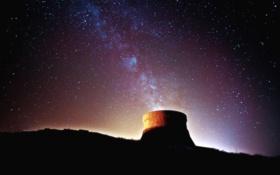 Обои небо, звезды, ночь, дым, труба, млечный путь