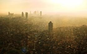 Обои sunset, fog, Istanbul, smog