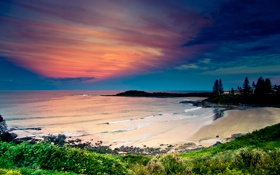 Обои закат, пляж, берег, небо, море