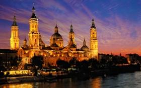 Обои небо, ночь, мост, огни, Испания, Сарагоса, Базилика-де-Нуэстра-Сеньора-дель-Пилар