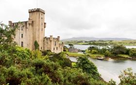 Картинка пейзаж, город, река, фото, замок, Шотландия, Dunvegan
