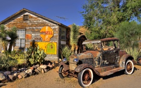 Картинка машина, дом, United States, Arizona, Hackberry