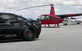 Картинка чёрный, Z06, Corvette, Chevrolet, вертолёт, шевроле, black