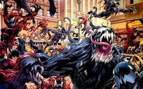 Картинка spider-man, толпа, Комикс, хаос, симбионт
