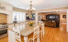 Обои дизайн, стол, стулья, интерьер, потолок, кухня, люстра