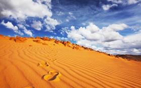 Обои песок, небо, облака, следы, пустыня, Африка, синее