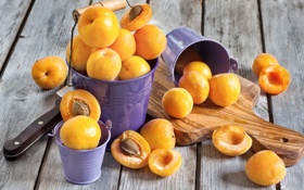 Обои косточки, дольки, абрикосы, apricots, ведерки, seeds, buckets