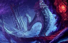 Обои тучи, дом, скалы, молнии, дракон, башня, арт