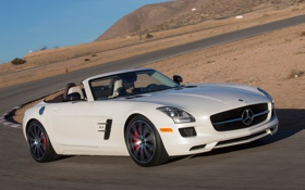 Картинка car, Roadster, Mercedes-Benz, white, AMG, SLS, speed