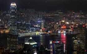 Обои город, китай, Гонконг, небоскребы, неон, высотки, ночь.