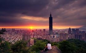 Обои облака, закат, город, тепло, Тайвань, парень