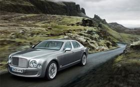 Обои дорога, скалы, Bentley, 2011, Mulsanne