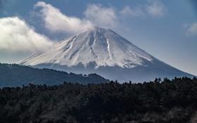 Обои небо, облака, деревья, пейзаж, гора, вулкан, Япония