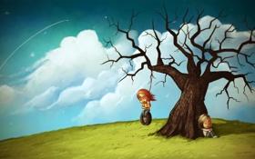 Картинка небо, девушка, облака, дерево, настроение, art