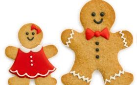 Обои праздник, печенье, Рождество, человечек, сладости, Новый год, Christmas