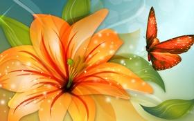 Обои бабочка, крылья, лепестки, коллаж, цветок
