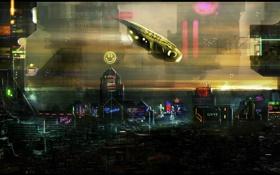 Картинка город, корабль, здания, чужой мир, летающий