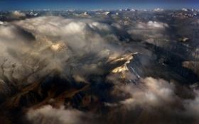 Картинка небо, облака, горы, высота, панорама