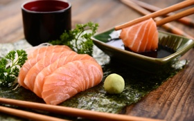Обои рыба, палочки, японская кухня, parsley, Japanese cuisine, зелень петрушки, fish sticks