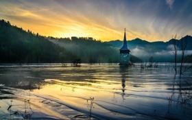 Картинка lake, Romania, church, sludge, flooded, Geamăna