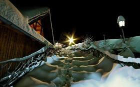 Обои снег, ночь, Christmas Spirit