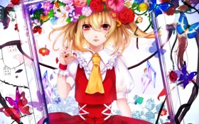 Картинка девушка, бабочки, цветы, аниме, рамка, арт, венок