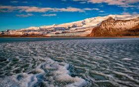 Обои залив, Auster-Skaftafellssysla, зима, снег, Breidárlón Lagoon, гора