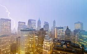 Картинка город, city, Нью-Йорк, Нью Йорк, молния, New York